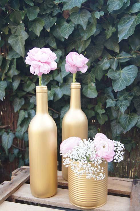 Weinflaschen Kupferflaschen Goldflaschen Tischdeko Dekoverleih